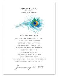 peacock wedding programs peacock wedding programs on premium recycled paper