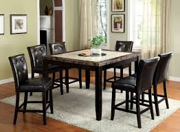 Wooden Dining Table With Marble Top Furniture Of America Cm3871pt Cm3188bk Pc Belleview Ii 7 Pieces