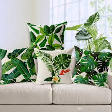 tropical plants cushion covers green leaves hibiscus flower pillow