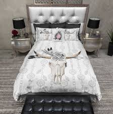 What Is A Bed Set Boho Bull Skull Flower And Feather Bedding Duvet Bedding Sets