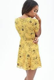 fit and flare dress forever 21 forever 21 floral fit flare dress in yellow lyst