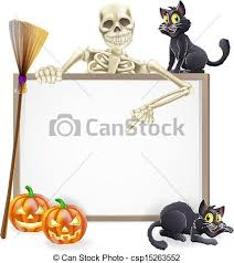 clipart vector of skeleton halloween sign a halloween sign with
