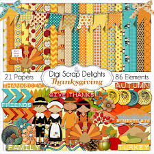 thanksgiving scrapbook kit w turkey pilgrim pumpkin for