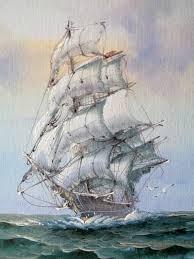 sailing ship original oil painting sopia signed nautical by aeolia