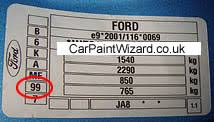 ford focus colour code ford touch up paint kits car paint wizard