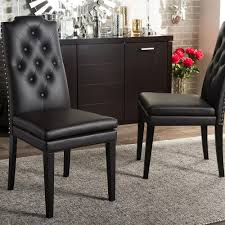 baxton studio dylin brown faux leather upholstered dining chairs