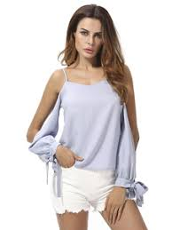 light blue top women s women s chiffon blouse cold shoulder strap long poet sleeve bowknot
