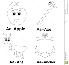words with picture a for apple a for ant kids learning coloring