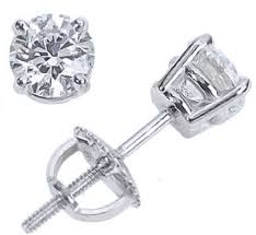 back diamond earrings 1 4 carat 14k white gold back diamond stud