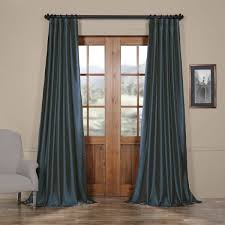 Exclusive Curtain Fabrics Designs Exclusive Fabrics Solid Faux Silk Taffeta Navy Blue Curtain Panel