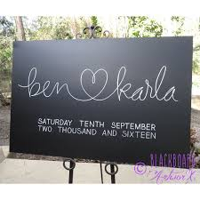 wedding chalkboard with permanent message add your names and date