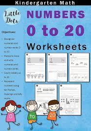 kindergarten numbers 0 to 20 worksheets and activities little