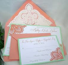 wedding invitations minted coral n mint green wedding invitation w doily lace envelope shabby