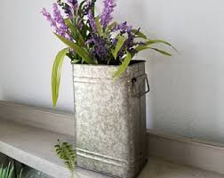 Tall Galvanized Planter by 1 Galvanized Metal Vase With Faux Plant Metal Planter