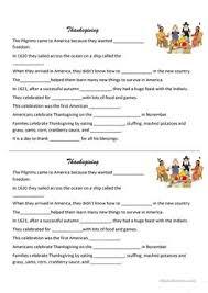 6 free esl pilgrims worksheets