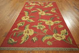 new unique veg dyed floral kilim 5 u0027 x 8 u0027 hand knotted red wool