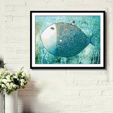 62x48cm diy cross stitch cute fish house printing home decor