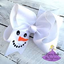 big snowman bow snowman hair bow winter bow big christmas bow