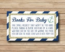 baby shower instead of a card bring a book nautical book request insert bring a book instead of a card navy