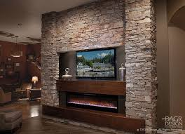 stone wall fireplace stacked stone media wall design by dagr design