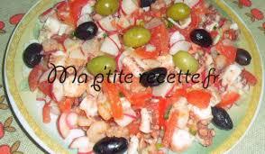 cuisiner le poulpe salade de poulpe et crevettes awatef1j62 recette entrée calmar et
