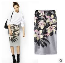 casual pencil skirt 2014 fashion floral printed pencil skirt