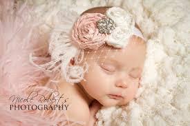 vintage headbands vintage baby pink and white silk handrolled rosette