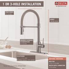 delta faucet 9659 dst trinsic chrome pullout spray kitchen faucets