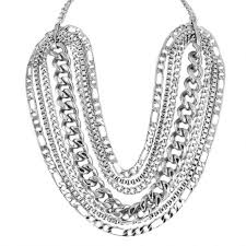 multi chain necklace images Karen london rhodium plated large link multi chain statement jpg