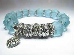 glass bracelet images Blue cut sea glass bracelet crystal fusion design JPG