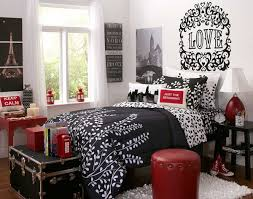 black wooden bed white curtains brown wooden floor white carpet bedroom black wooden bed white curtains brown floor carpet pattern flower blanket red iron table