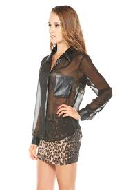 leather blouse girlfriends sheer leather collar blouse from arizona by