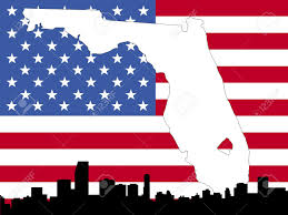 Florida On Map by Map Of Florida On American Flag With Miami Skyline Stock Photo