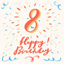 8th happy birthday card u2014 stock vector alexgorka 95361196
