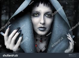 halloween fashion portrait witch night vampire stock photo