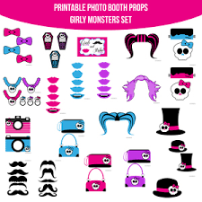 printable girly photo booth props monster high girly monster halloween party printable photo booth