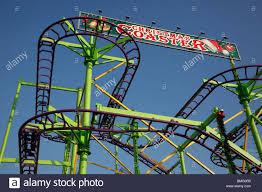 rollercoaster in winter in hyde park stock photo