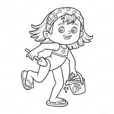Livre de coloriage pour les enfants Petite fille sur la plage