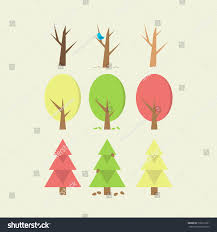 minimal trees set flat design easy stock vector 176612321