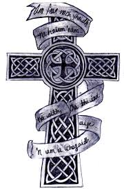 black and grey celtic cross with banner tattoo design by kara rose