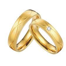 wedding gold rings gold color health jewelry titanium steel vintage engagement