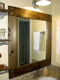 mirrors bathroom framed bathroom square rustic framed bathroom mirror with top lighting