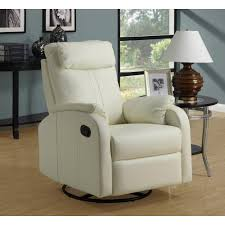 swivel recliner monarch specialties ivory bonded leather swivel recliner i8081iv