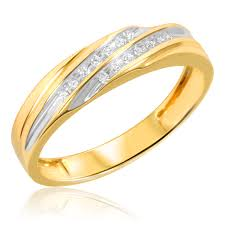yellow gold wedding band with white gold engagement ring 1 7 carat t w diamond his and hers wedding band set 10k yellow gold