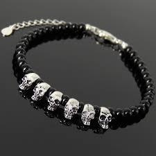 bracelet skull beads images Silver skull protection beads black onyx stones healing clasp jpg