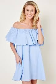 cute blue dress off the shoulder dress 48 00