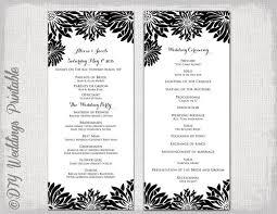printable wedding program template black white