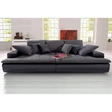 grand canapé droit canapé xl ou microfibre et tissu aspect tweed noir autres