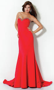 back bow sequin trim long strapless sweetheart natural v neck red