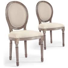 chaises medaillon lot de 2 chaises médaillon royale tissu beige